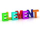 Element 3d inscription bright volume letter