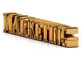 MARKETING 3d inscription of golden bright letter