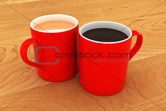 A Colourful Tea and Coffee Mug Illustration
