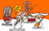 rabbits rock music band cartoon