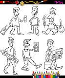men set cartoon coloring book