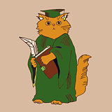 Hand drawn illustration of a cat student