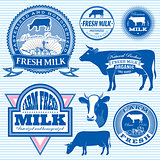 set of icons on the theme of cow's milk