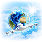Earth with water and airplane