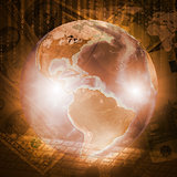Earth, world map and keyboard on money background