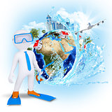 3d diver near the Earth with houses and trees
