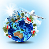 Earth with buildings and airplane
