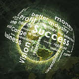 Earth, sphere consists business words and graphs