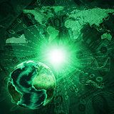 Earth, world map and graphs on money background