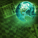 Earth and world map on money background
