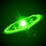 Ring lightening in green hues on dark background