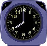 Modern blue alarm clock on white background
