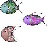 Three fishes  with a beautiful ornament