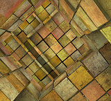 3d fragmented tiled mosaic labyrinth in orange pink