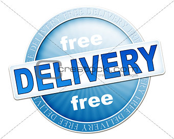 free delivery button blue