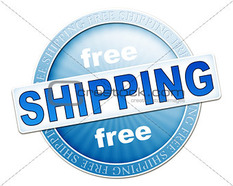 free shipping button blue