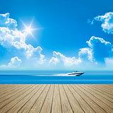 wooden jetty speed boat