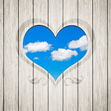 wooden heart clouds