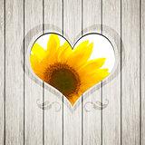 wooden heart sunflower