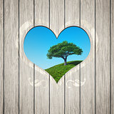 wooden heart with a tree