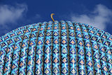 Huge blue dome Arab mosque