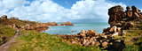 Ploumanach coast spring panorama (Brittany, France)