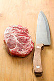 raw juicy meat with knife