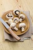 button mushroomson kitchen table