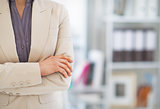 Closeup on business woman in office