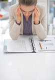 Portrait of frustrated business woman at work