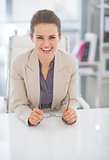 Portrait of happy business woman with eyeglasses