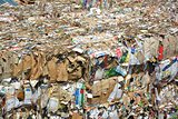 Paper and cardboard compressed for recycling