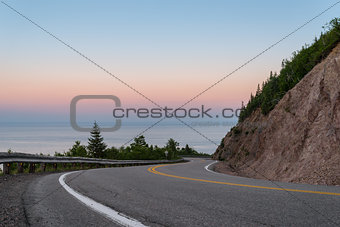 Cabot Trail Highway at dusk