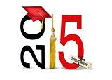 red 2015 graduation cap