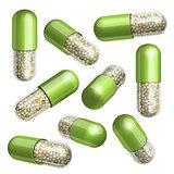 Medical green  capsule