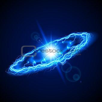 Blue ring lightening on dark background