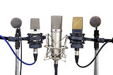 Several conference meeting microphones