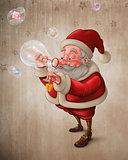 Santa Claus and the bubbles soap