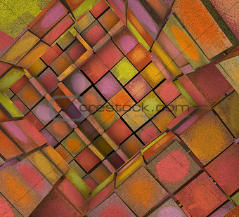 3d fragmented tiled graffiti labyrinth in multiple spray color