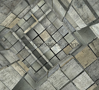3d fragmented tiled mosaic labyrinth in multiple gray