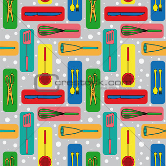 Seamless background with icons of kitchen ware
