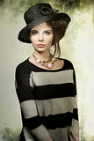 fashion woman with hat