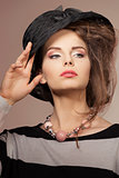 close-up of girl with trendy hat
