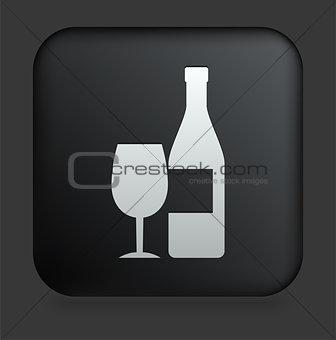 Champagne Icon on Square Black Internet Button