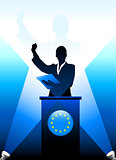 European Union Leader Giving Speech on Stage