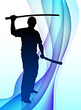 Karate Sensei with Sword on Abstract Wave Background