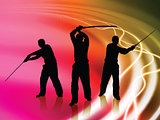 Karate Sensei with Sword on Liquid Wave Background