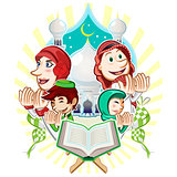 Islam Eid Mubarak Greeting Card Illustration
