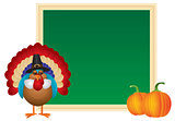 Thanksgiving Day Turkey Pilgrim Chalkboard Illustration