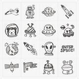 doodle space element icon set